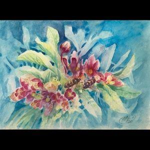 Original Painting honeybee bee flowers watercolor